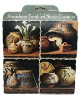Absorbent Tumbled Stone Coasters Gift Set of 4 Cork-backed Native Potter... - $16.95