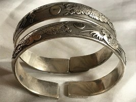 Pair Vintage Oriental Chinese Silver Plate Bracelet Bangles Dragons Repousse - $384.13