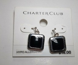 Charter Club Silver and Black Dangle Drop Earrings - New - $9.90