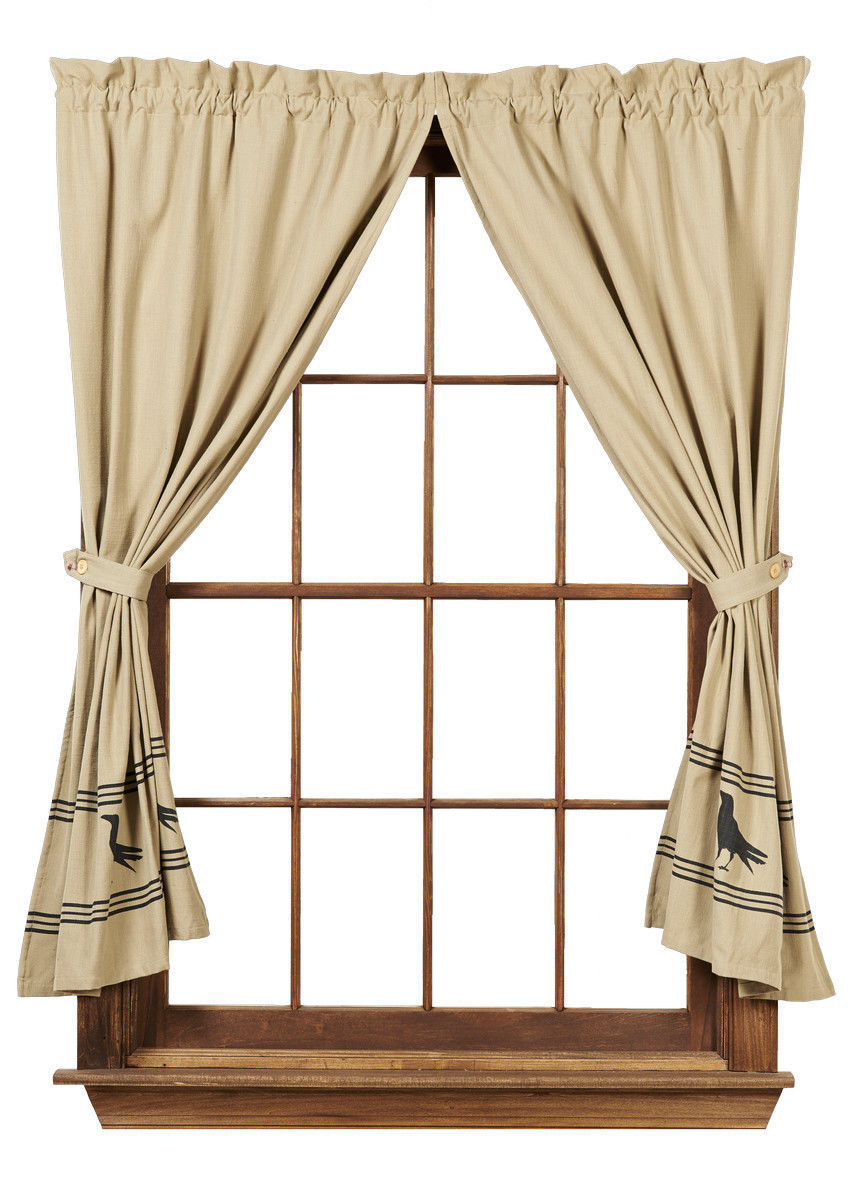 Primary image for Olivia's Heartland country primitive Olde Crow Tan & Black Panel curtains 72x63