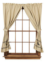 Olivia's Heartland country primitive Olde Crow Tan & Black Panel curtains 72x63 - $76.95