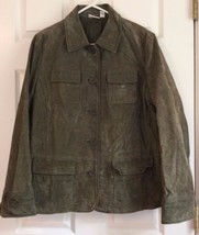 Suede Leather Jacket Button Front Dark Green 4 Front Flap Pockets St Johns Bay - $17.77