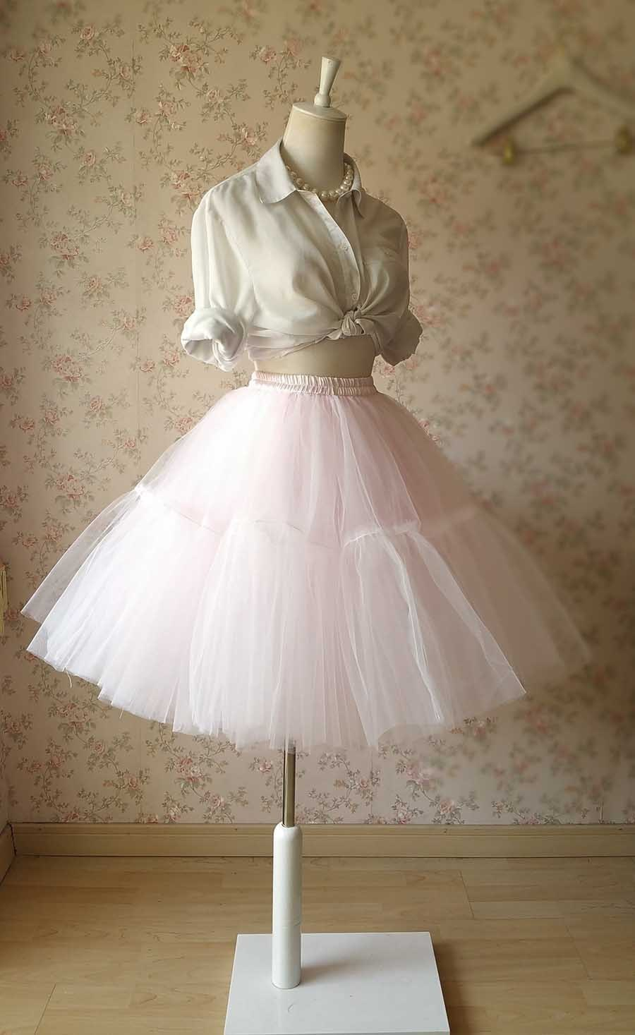Pink Midi Length Ruffle Tulle Skirt Women Girl Pink Ballerina Skirt 6 Layer NWT
