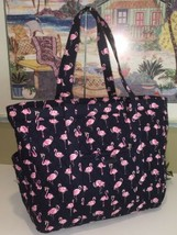 VERA BRADLEY GET GOING CARRIED AWAY TOTE LARGE TRAVEL BAG FLAMINGO FIEST... - $69.29