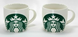 Starbucks Mermaid Logo Mugs Set of (2) Green Siren on White 14 oz, 2017 - $12.00