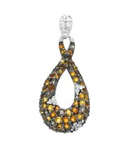 925 Sterling Silver Genuine Citrine Infinity Pendant with Silver Chain image 1