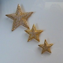 Vintage Joan Rivers Pave Crystal Star Brooches Set of 3   - $66.83