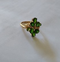 10K YELLOW GOLD GREEN CHROME DIOPSIDE PEAR COCKTAIL RING, SIZE 7, 3.04(T... - $155.00