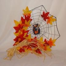 Bunny Witch Spiderweb Finished Cross Stitch Handmade Halloween Fall Leav... - $36.39
