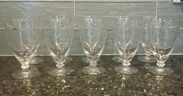 "Antique Vintage Etched Cut Crystal Water Glasses (10) 6"" Tall - Fostoria? - $125.00"