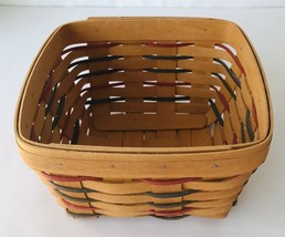 Longaberger Square Basket with Liner 1995 Handwoven No Lid No Handle Red... - $48.37