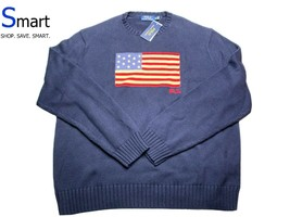 NMT XL MEN Polo Ralph Lauren USA Flag Crew-Neck Pullover Sweater Red Whi... - $148.49