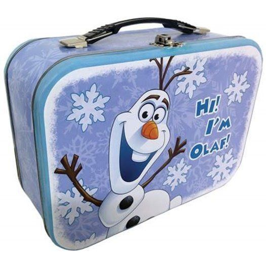 Walt Disney's Frozen Olaf Laughing Large Carry All Tin Tote Lunchbox, NEW UNUSED