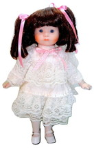 "1989 Brinn's Collection 13"" Porcelain Doll Brunette Blue Eyes White Lace... - $3.95"