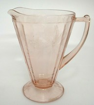 Jeannette Glass Poinsettia Floral 32 oz Pitcher Pink Depression Glass Sc... - $17.81