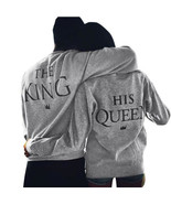 Valentine TShirts Men  Women Grey New Family King Queen Letter Print Lon... - $15.26+