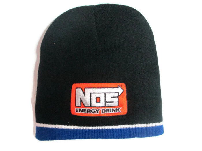 BRAND NEW NOS Knit Beanie Black with Orange Patch And Blue Trim
