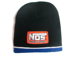 NOS Knit Beanie Black with Orange Patch And Blue Trim - BRAND NEW - $9.90