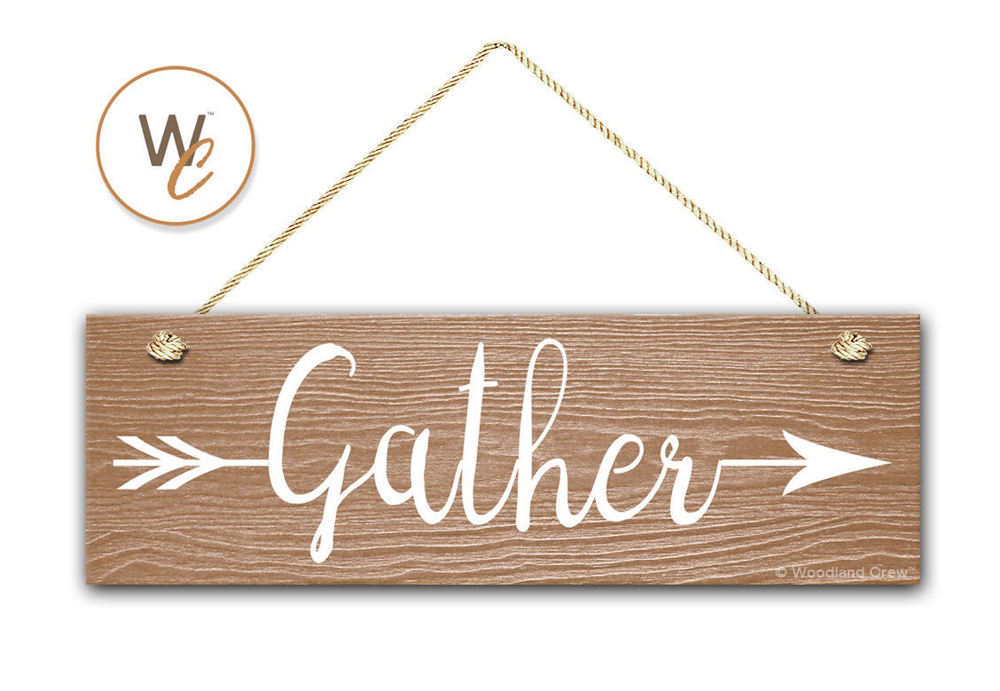 "Gather Sign, 5.5"" x 17"" Wood Sign, Rustic Home Decor, Tribal Arrow, Inspiration"