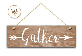 "Gather Sign, 5.5"" x 17"" Wood Sign, Rustic Home Decor, Tribal Arrow, Insp... - $20.25"