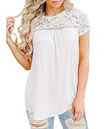 MIHOLL Women's Lace Short Sleeve Shirts Summer Casual Loose Blouse Tops ... - $19.03