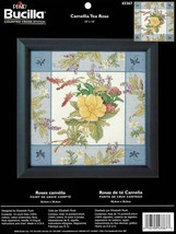 Camellia Tea Rose Bucilla Counted Cross Stitch Kit 43367 Flower Floral Rush - $16.44