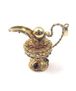 14k Yellow Gold Vintage Pitcher Pendant Charm With Color Stones - $1,290.09