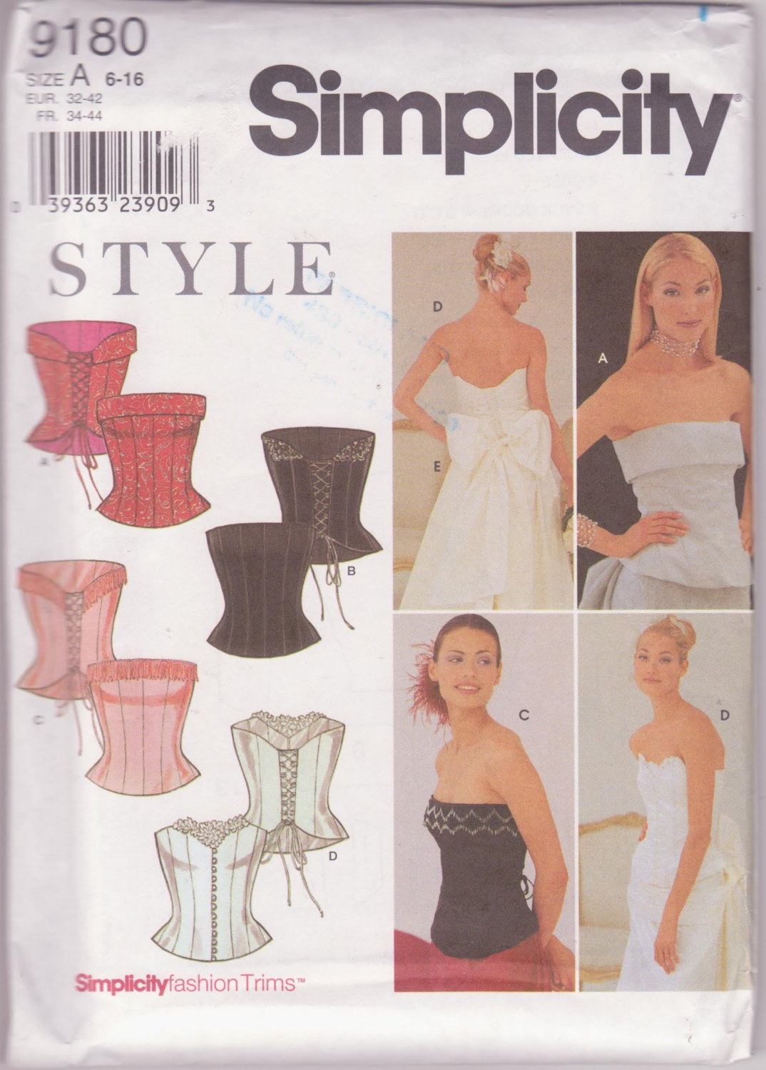 Lingerie Busteir, Sashes Gathered Ties, Pattern Simplicity 9180 4 Fitted Styles,