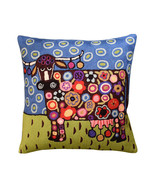 """Blooming Cow Karla Gerard Decorative Pillow Cover Handembroidered Wool 18""""x18"""" - $55.00"""