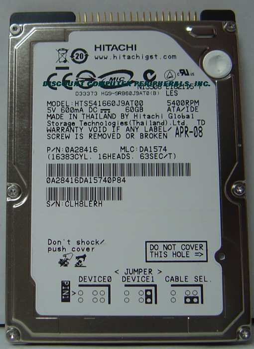 "60GB IDE 2.5"" Drive Hitachi HTS541660J9AT00 Tested Free USA Ship Our Drives Work"
