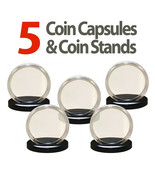 5 Coin Capsules & 5 Coin Stands for JFK HALF DOLLARS Direct Fit Airtight... - £6.90 GBP