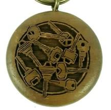 Vintage Wooden Key Chain Round Laser Cut Random Keys Design with Ring Ke... - $14.99