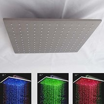 16 Inch Square Rainfall LED Shower Head, Heavy Duty Metal ((Without Shower Arm) - $386.05