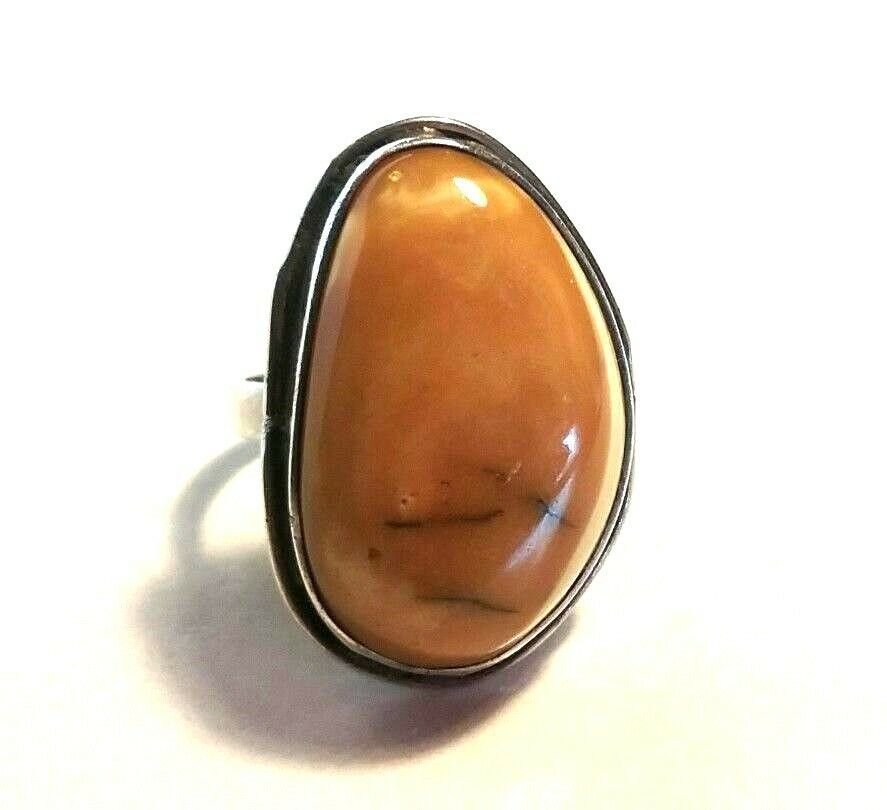 Primary image for LARGE VINTAGE BUTTERSCOTCH AMBER STERLING SILVER RING