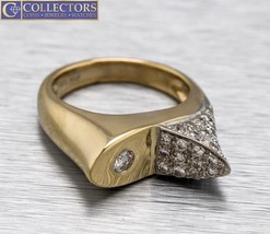 Ladies Retro Modernist 14K Yellow Gold 0.82ctw Diamond Ornate Cocktail Ring - $679.76
