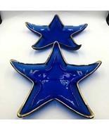 Cobalt Blue Blown Glass Starfish Star Dish Plates Gold Trim  - $29.98