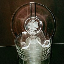 "12 (Twelve) IMPERIAL GLASS FRUIT INTAGLIO Crystal Frosted Round 6.25"" Pl... - $65.99"