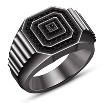 Mens Black Wedding Bands With Black diamonds In 14K Black Gold Finish 925 Silver - $129.03