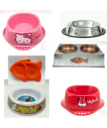 Cat Pet Bowl White 5 inch across Fun Designs Many Types New - $6.92+
