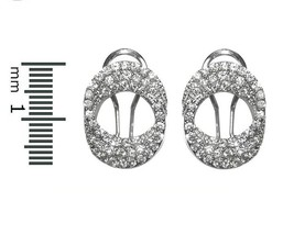Glitzy Three Link AAA Cubic Zirconia Omega-French Back Rhodium Earrings ... - $29.69