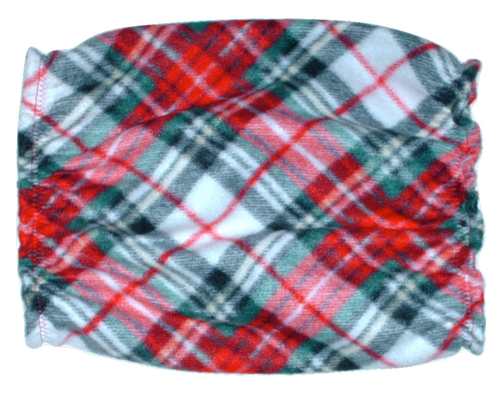 Red Green Black Diagonal Plaid Fleece Dog Snood-by Howlin Hounds Sz Puppy Short