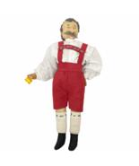 Vintage RAVCA? Needle Sculpted Stockinette Cloth Doll German Man Lederhosen Beer - $69.29