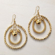 Gold Mesh Bead Earrings with multiple hoops