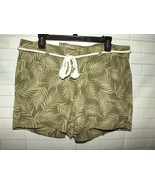 Sonoma Misses Belted Shorts Sz 12 Mid Rise Stretch Linen Rayon Green Pal... - $15.45