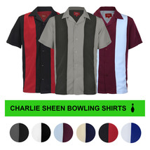 Men's Retro Classic Charlie Sheen Two Tone Guayabera Bowling Casual Dress Shirt