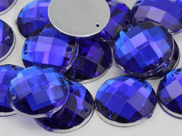 10mm Blue Sapphire CH09 Round Flat Back Sew On Gems For Craft 100 PCS