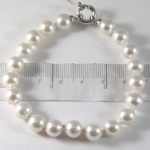 Bracelet or Blanc 750 18K, Fil de Perles Blanches Akoya Diam 8 mm,Long 1... - $591.50