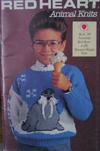 Vintage Red Heart Knitting Booklet 340 Animal Knits For Kids - $4.99