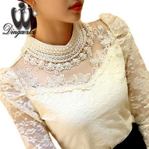 Dingaozlz elegant long sleeve bodysuit beaded Women lace blouse shirts c... - $19.20