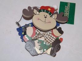 "Commodore Wooden Ornament - NEW - Moose ""Jingle Bells"" - $6.64"